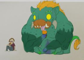 monster and girl enjoying ice cream adjusted color by ducttapequeen