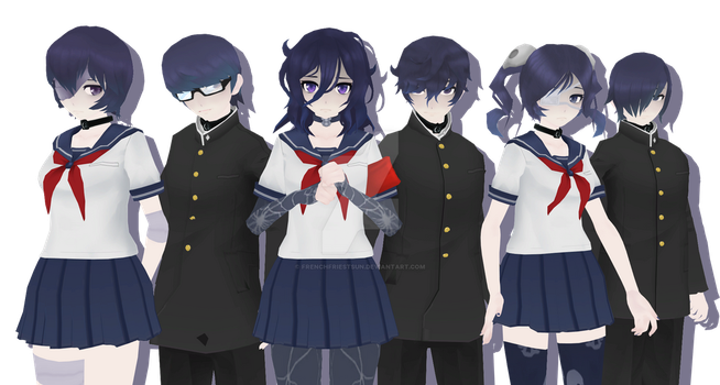 MMD Yandere Simulator - Occult club members DL by FrenchFriesTsun