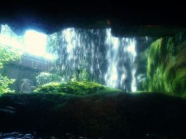 from inside the waterfall by DeargSionnach