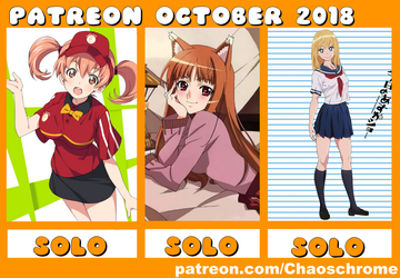 October 2018 Patreon schedule by chaoschrome