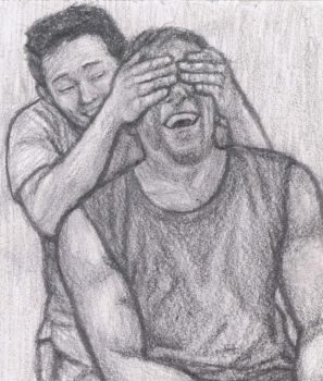Glenn's hands over Daryl's eyes by gagambo