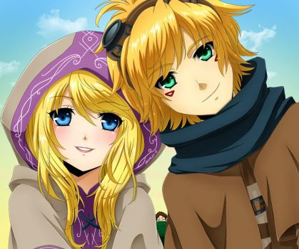 Ezreal and Lux by Selene-Galadriel