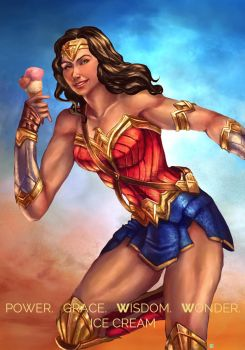 wonder woman loves ice cream by cric