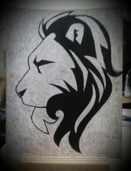 Lion on Scratchboard by donedealinDC