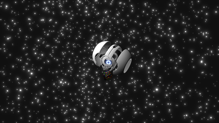Wheatley lost in space playing with a Rubik's Cube by adriens33