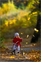Autumn, park and her bicycle by fotouczniak