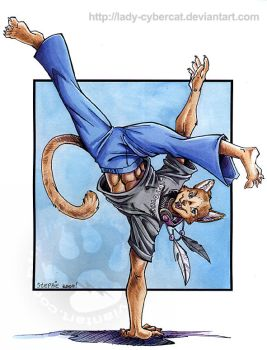 Capoeira Teracat commission by lady-cybercat