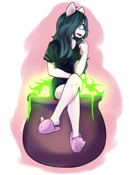 Claire sitting on her Cauldron by TheBorealYoako