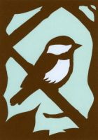 Chickadee Papercut Card by calzephyr