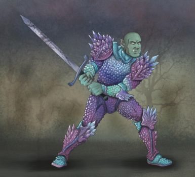 Rauhiss, Half Orc in Dendritic Armor by Squeakyrat