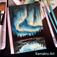 Mini Watercolors - Northern Lights 1 by Kamakru