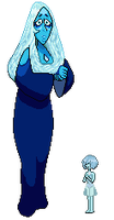 Pixel Art Blue Diamond and her Pearl by JaegerLucciano23