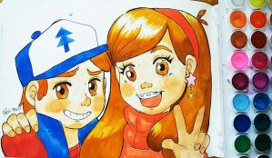 Friendship ~ Dipper and Mabel by Helsic