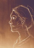 Art sketched beautiful girl face in profile by oanaunciuleanu