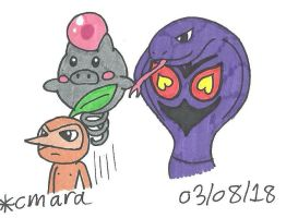 Arbok, Nuzleaf and Spoink
