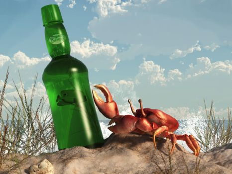 Crab with Bottle on the Beach by deskridge