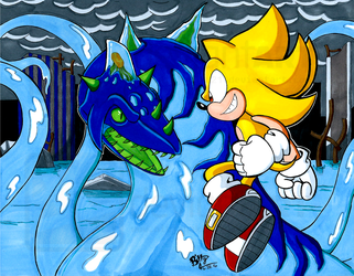 STH-Super Sonic Vs. Perfect Chaos by NinjaHaku21