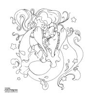 Primarina - Jumping to the moon lineart by JadeDragonne