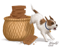 Dog destroying clay tablet by K-Bladin