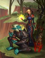Troll DK and Bloodelf priest by VanHarmontt