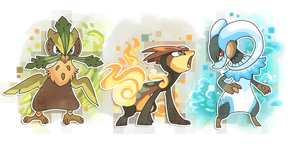 Fakemon starters second evolution by griffsnuff