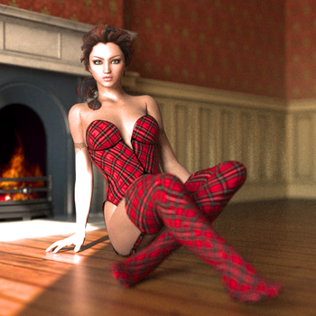 Daisy at fireplace by robbiepeeradje
