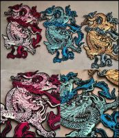 NEW Chinese dragons ~ XL embroidered patch by goiku