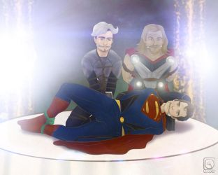 Caught Superman x Quicksilver x Thor by jackcrowder