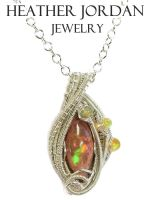 Mexican Cantera Opal Pendant in Sterling S with... by HeatherJordanJewelry