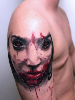 Horror portrait tattoo by SelfmadeTattooBerlin