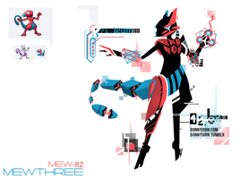 Pokemon Fusion 11 Mewthree (Porygon + Mewtwo) by BonnyJohn