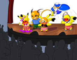Raichu and the Pika Girls Onstage by Avionscreator