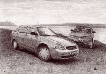lada 2112 and priora by ArtemkA-18RUS