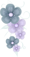 Blue Flowers PNG by PVS by pixievamp-stock