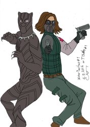 Winter panther #1, or T'challa x Bucky by vihervirveli