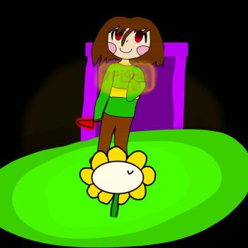 Chara And Flowey by NoodlesD0odles