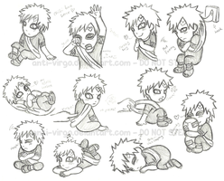 Gaara Chibi Sketches by Sandy--Apples