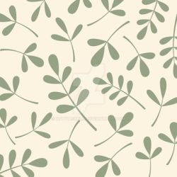 Assorted Leaves Green on Cream by NatPaskell