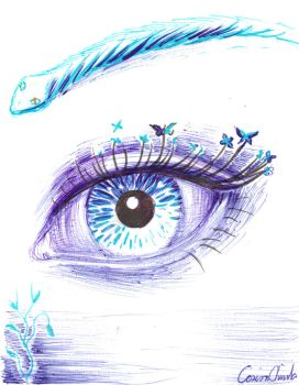 Blue Eye Ball Point Pen Drawing by CORinAZONe