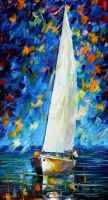 White Sail by Leonid Afremov by Leonidafremov
