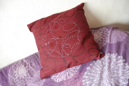 Dark Red Cushion by carolynthefairy