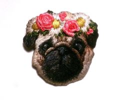 Pug [embroidery] by LadonbKokosa