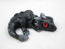 Baby Dragon Sculpt Black with Red Eyes by DragonCid