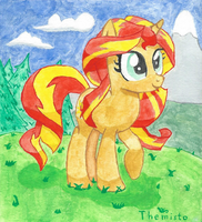 Ponified Sunset Shimmer watercolor painting by Themisto97