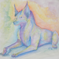 Watercoloured wolf by Takarti