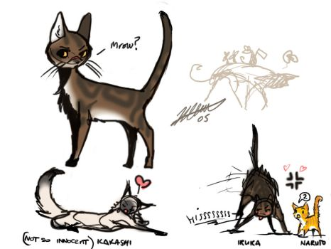 Naruto AU - cats scribbles by cheenot