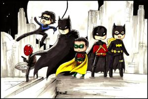 Batman and the Robins by CaffeineCat