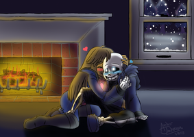 Commission- By the Fireplace by TabbyWesa