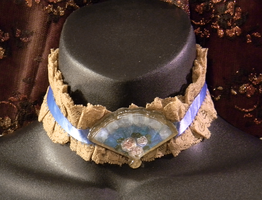 Blue and Ecru Lace Choker with Handpainted Fan Cab by MorganCrone