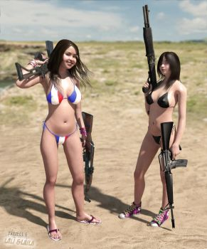 Playing with my girls, playing with their guns 1 by erogenesisCGI